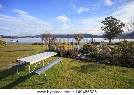 beautiful scenic of lake te anau new zealand