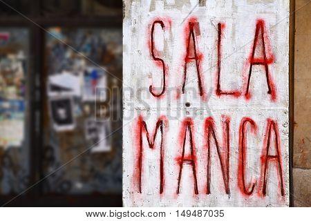 Salamanca - Urban graffiti on a wall close-up, Spain