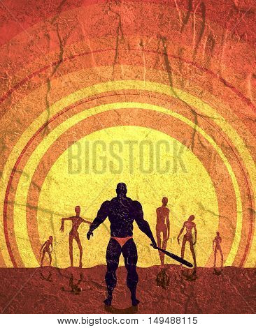 Zombie silhouettes on sunset. Halloween theme background. Bodybuilder with a baseball bat stops zombies. Concrete texture.