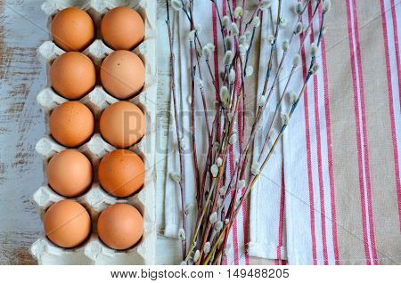 Eggs In A Cardboard Tray With Twigs Of Pussy Willow