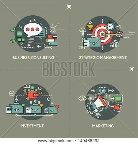 Business consulting, management, investment, marketing on gray background