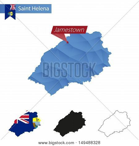Saint Helena Blue Low Poly Map With Capital Jamestown.