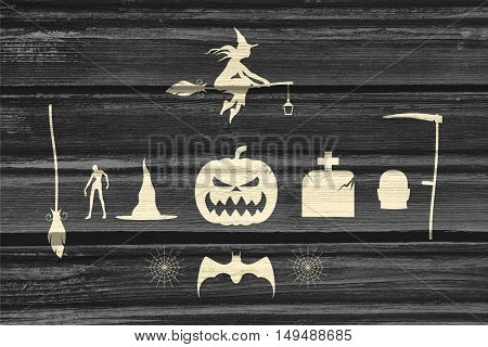 Set of silhouettes. Halloween party collection. . Wood texture