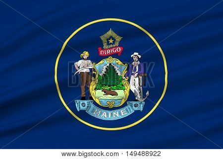 Flag of Maine is a state in New England of United States. 3D illustration