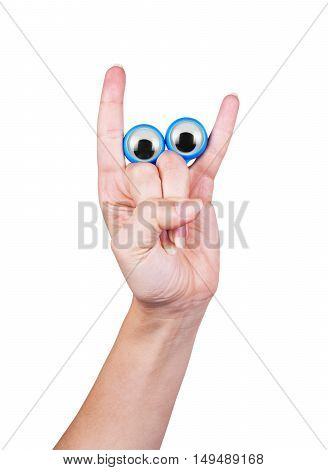 eyes on the fingers of the hand on a white background