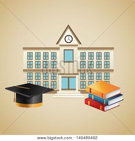 Books graduation cap and building icon. Education school and classroom theme. Colorful design. Vector illustration