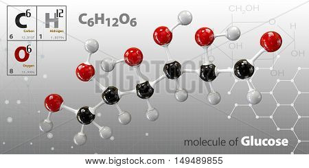 3d Illustration of Glucose molecule on a gray background