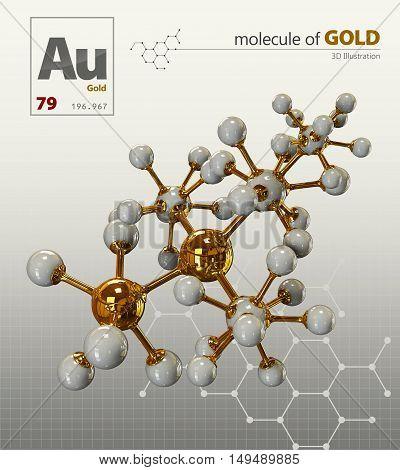 Illustration Of Gold Molecule Isolated White Background