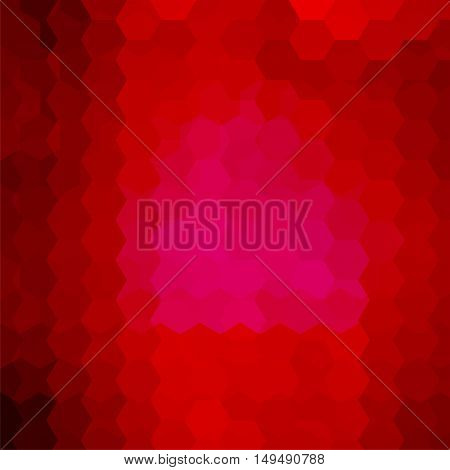Geometric Pattern, Vector Background With Hexagons In Red Tones. Illustration Pattern