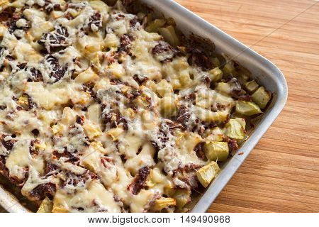 A casserole with mince and a courgettes