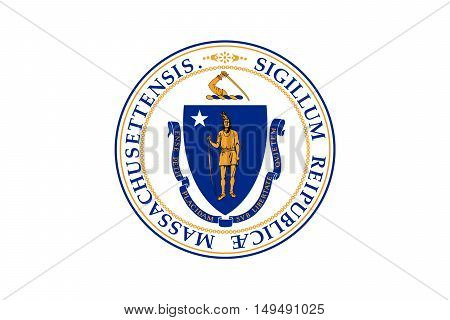 Flag of Massachusetts state in United States
