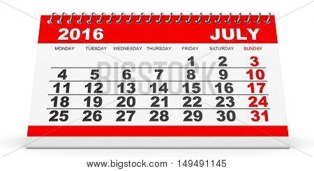 Calendar July 2016 On White Background.