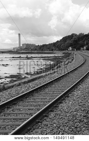 A view along the coastal railway line to Longannet
