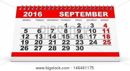 Calendar September 2016 On White Background.