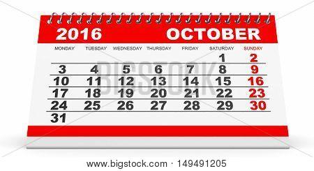Calendar October 2016 On White Background.