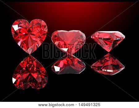 3D illustration of Heart shape gemstone. Diamond. Jewelry background. Fashion accessory