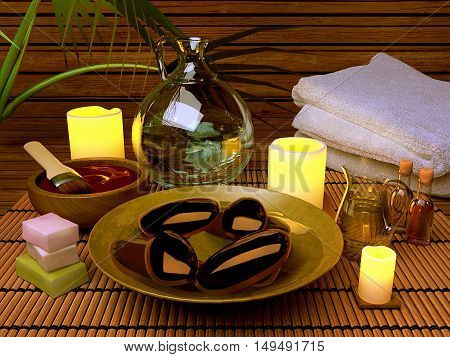 Pampering. Spa procedures with essence oil natural soap soft towel. 3D illustration