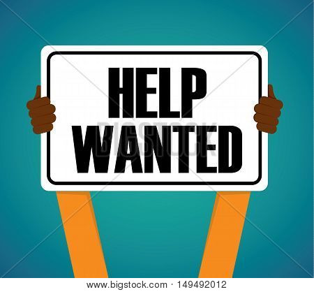 Hands Holding Help Wanted Sign - Vector Flat