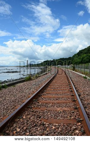 A view along the coastal railway line from Culross
