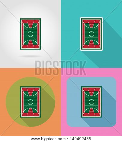 basketball court flat icons vector illustration isolated on background