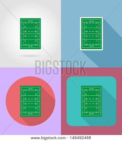 field for rugby flat icons vector illustration isolated on background