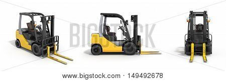 Forklift Loader Isolated On White 3D Render