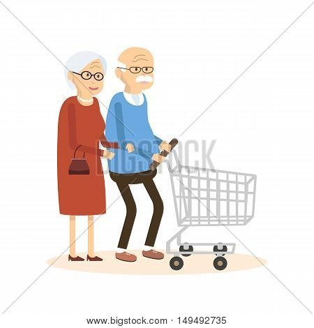 Old man and woman with shopping cart. Elderly people people purchased goods. Vector illustration flat design