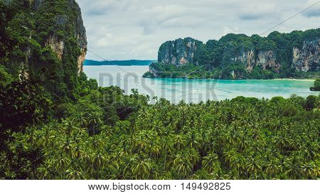 View on Railay beach from a height, Krabi, Thailand.