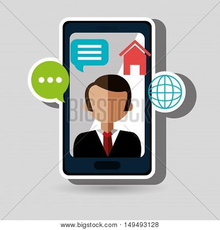 avatar smartphone play chat vector illustration eps 10