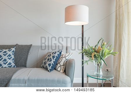 Modern White Lamp With Set Of Sofa In Modern Living Room
