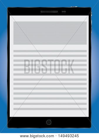 tablet pc vector icon on a blue background esp10