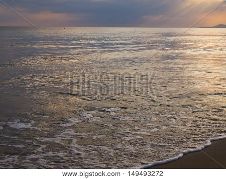meeting dawn morning beach waves Rethymno Crete