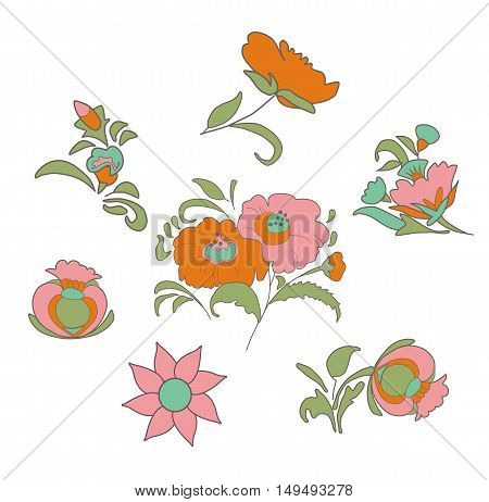 Set of fabulous vintage flowers in ethnic folk style for your design ideas