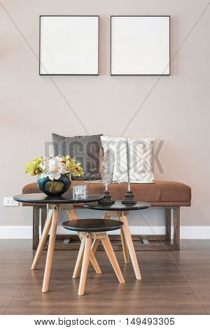 Set Of Table And Chair In Modern Living Room Interior