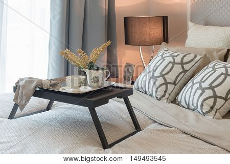 Tea Set Cup On Wooden Tray In Bedroom