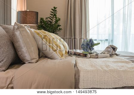 Vase Of Flower On Classic Bed Style In Bedroom