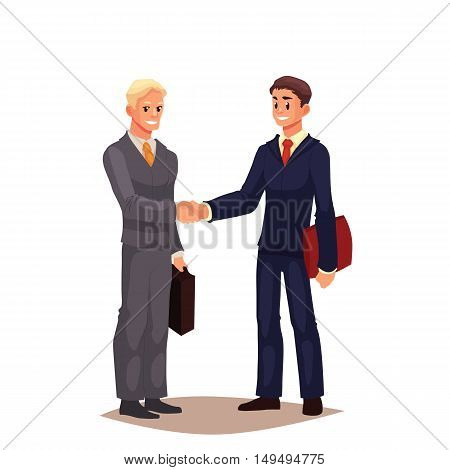 Two businessmen in suits shaking hands, cartoon style illustration isolated on white background. Blond and brown haired office workers, businessmen shaking hands, handshaking, closing a deal