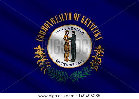 Flag of Kentucky state in United States. 3D illustration
