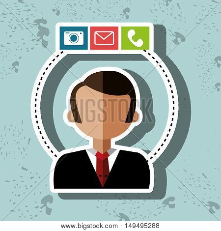 avatar camera email telephone vector illustration eps 10