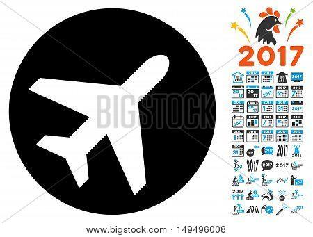 Avion icon with 2017 year bonus glyph pictographs. Design style is flat symbols, white background.