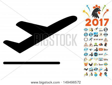 Departure icon with 2017 year bonus glyph design elements. Set style is flat symbols, white background.