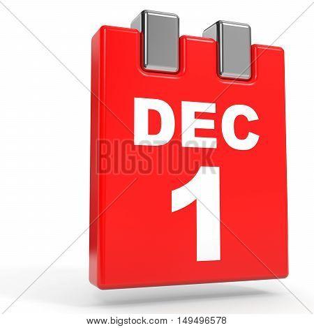 December 1. Calendar On White Background.