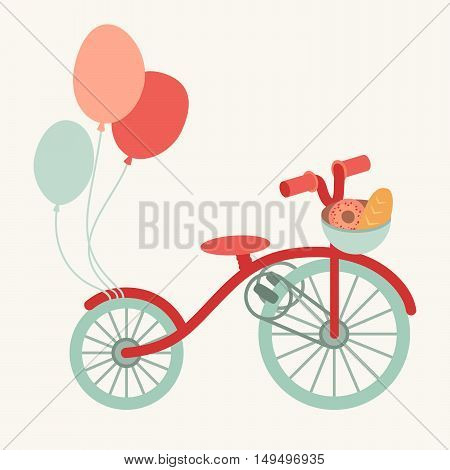 Retro bike cartoon illustration with a basket of bread healthy activity. Transport with balloons. Vector flat isolated on white background