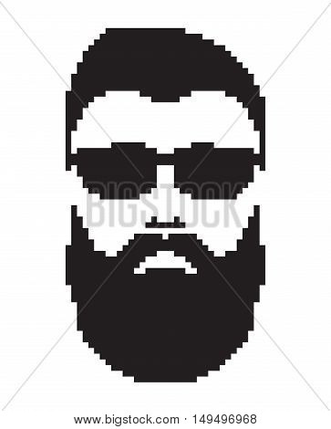 Bearded man with mustache. Barbershop logo portrait. Mustached men face icon black color. Pixel art in vector graphics isolated on white background
