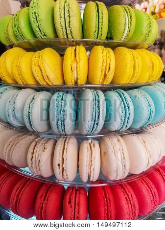 Closeup view at the colorful macarons cookies