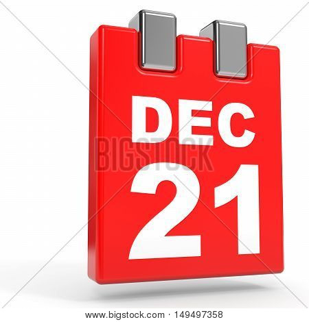 December 21. Calendar On White Background.