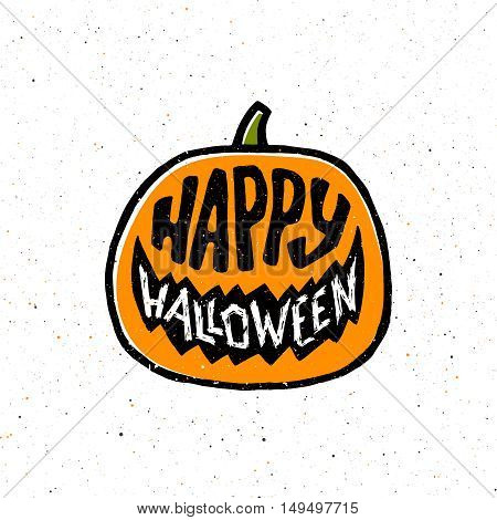 Happy Halloween retro greeting card with typography on flat orange pumpkin. Design element for 31 october party decoration.