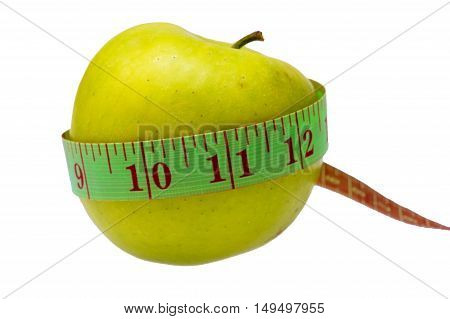 Diet Concept, Green Apple Wrapped With Measuring Tape