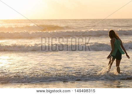 Woman Walking On The Beach, Sunshine In The Morning Summer Sea Holiday Background