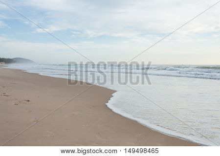 Beautiful Landscape Summer Sea With Sand Beach And Clear Sky Background